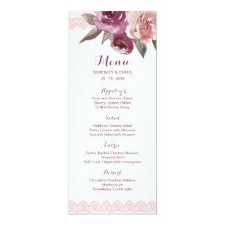 Cartão Menu floral do casamento outono do laço da
