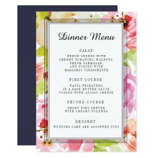 Cartão Menu floral do comensal de casamento de Adeline