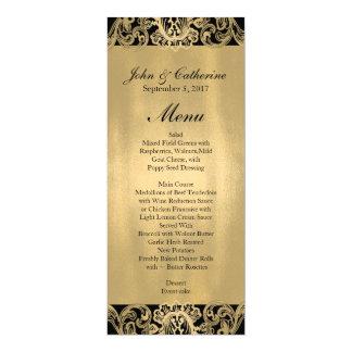 Cartão Menu formal do casamento do preto e do ouro