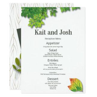 Cartão Menu minimalista da recepção de casamento do