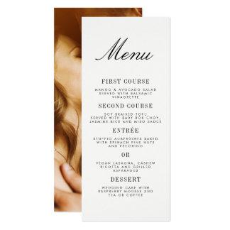 Cartão Menu minimalista do casamento da foto da