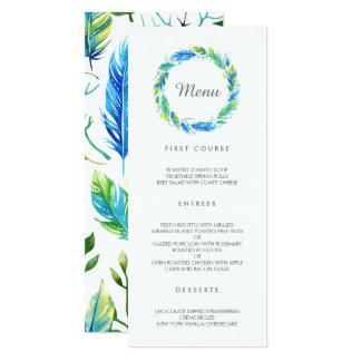 Cartão Menu moderno brilhante do casamento de Boho |