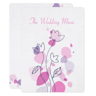 Cartão Menu moderno gráfico do comensal de casamento das