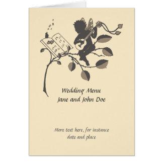 Cartão Menu musical do casamento da silhueta do anjo do