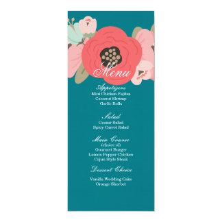 Cartão Menu Pastel da cerceta do jardim floral