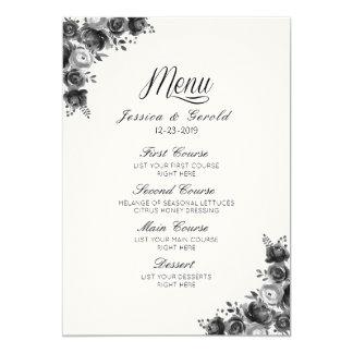 Cartão Menu preto & branco rústico do casamento do
