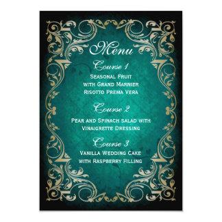 Cartão menu régio do casamento do ouro rústico do aqua