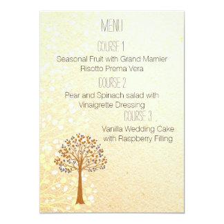 Cartão menu rústico do casamento da árvore da queda