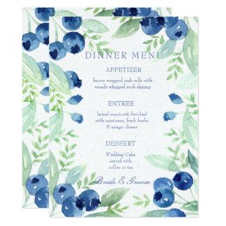 Cartão Menu rústico do casamento da baga dos plenos