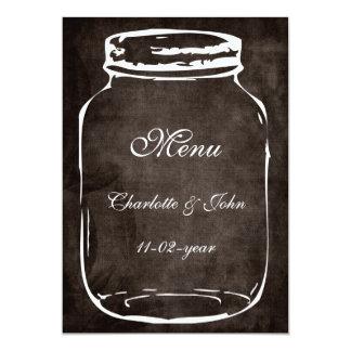 Cartão menu rústico do casamento do marrom do frasco de