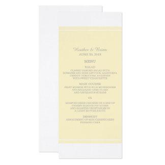 Cartão Menu simplesmente elegante do casamento do amarelo
