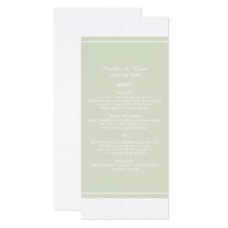 Cartão Menu simplesmente elegante do casamento do verde