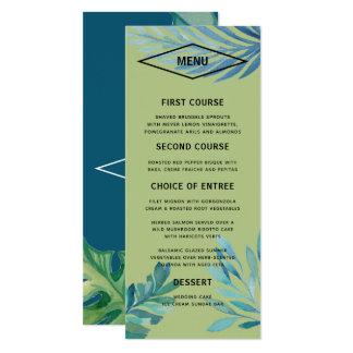 Cartão Menu tropical do casamento da folha da aguarela