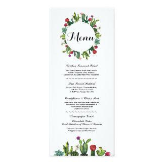 Cartão Menus do mexicano da festa do cacto da recepção de