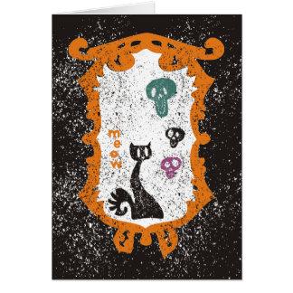 Cartão Meow - gato preto - o Dia das Bruxas