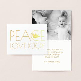 Cartão Metalizado Amor da paz e de pomba da alegria ouro da foto do