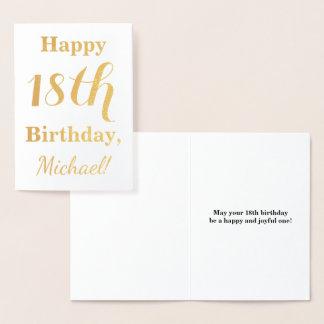 Cartão Metalizado Aniversário simples da folha de ouro 18o + Nome
