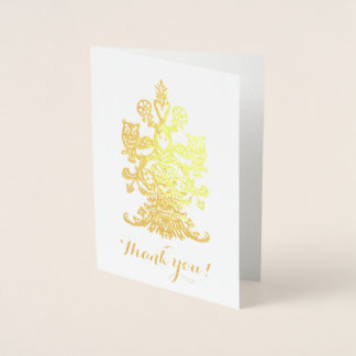 Cartão Metalizado Corujas reais douradas de yu do obrigado