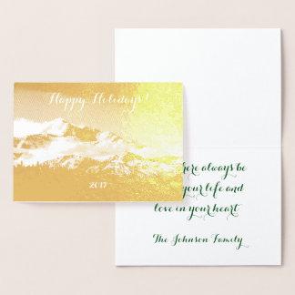 Cartão Metalizado Montanha cintilante de Denali da folha de ouro do
