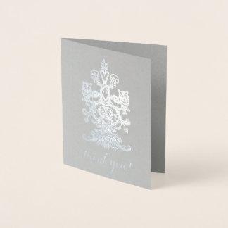 Cartão Metalizado Obrigado corujas reais de prata cinzentas nobres