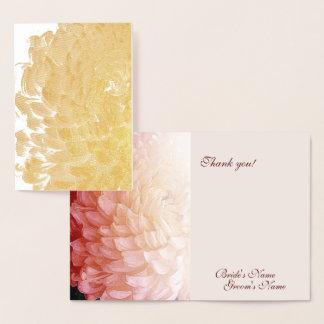 Cartão Metalizado Obrigado do casamento do crisântemo do rosa da