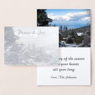 Cartão Metalizado Paz do feriado da folha de prata & alegria reais