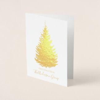 Cartão Metalizado Pinheiro simples da folha de ouro com assinatura