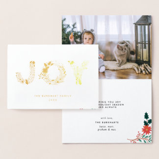 Cartão Metalizado Tipo alegre ouro da foto do Natal de  