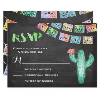 Cartão mexicano do cacto RSVP da aguarela do