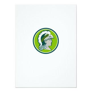 Cartão Minerva que veste o círculo do louro retro