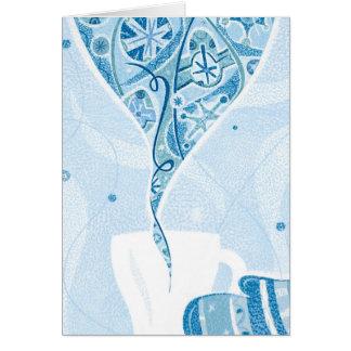 Cartão Mitene que guardara a caneca no teste padrão azul