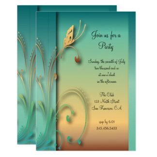 Cartão Modelo azul elegante do partido da borboleta do