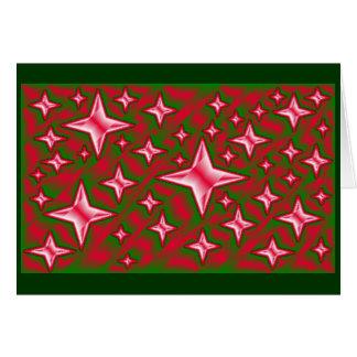 Cartão Modelo verde vermelho do Natal das estrelas