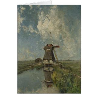 Cartão Moinho de vento holandês na via navegável Paul