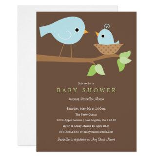 Cartão Momma e pássaro de bebê - o chá de fraldas azul de