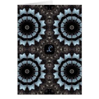 Cartão Monograma medieval gótico L do caleidoscópio