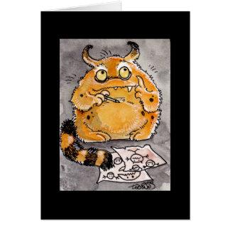 Cartão Monstro alaranjado criativo Notecard