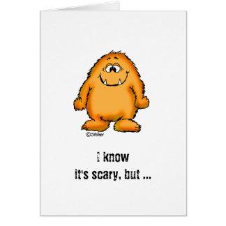 Cartão Monstro alaranjado lunático bonito por Send2smiles