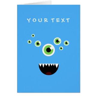 Cartão Monstro azul bonito louco engraçado original