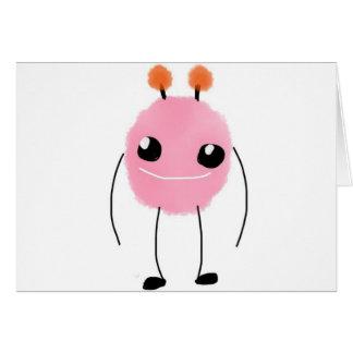 Cartão Monstro cor-de-rosa bonito