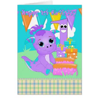 Cartão Monstro pequeno bonito do primeiro aniversario com