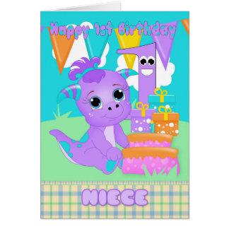 Cartão Monstro pequeno bonito do primeiro aniversario da