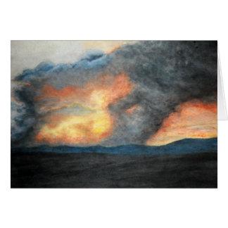 Cartão montanhas ardentes (aguarela)
