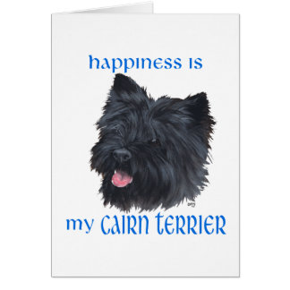 Cartão Monte de pedras preto Terrier da felicidade
