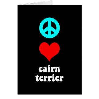 Cartão Monte de pedras Terrier do amor da paz