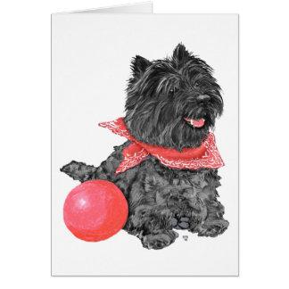 Cartão Monte de pedras Terrier preto com bola