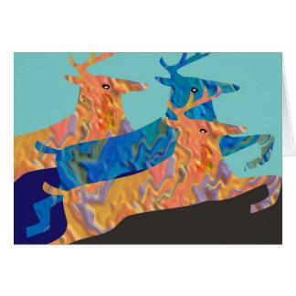 Cartão Mostra dos cervos - vôo de animais coloridos