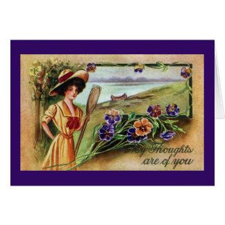 Cartão Mulher e Pansies Canoeing