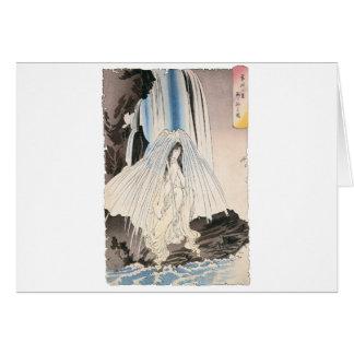 Cartão Mulher japonesa na cachoeira, arte japonesa antiga