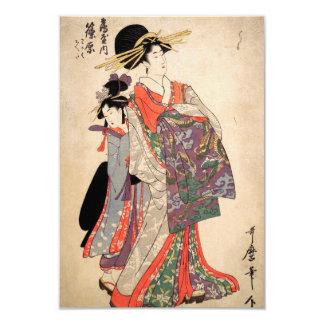 Cartão Mulher no quimono colorido